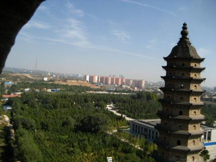The view of Taiyuan from the top of one of the pagodas